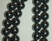 Black Shell Pearls Round 16mm Beads 16 inches Strands - Gray Tone - PSP - Select Quantity