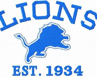 Detroit Lions Team Embroidery Machine Designs Instant Download