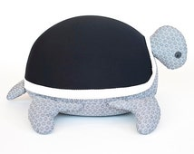 Turtle Beanbag Puff- Black (With filling)