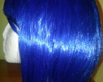 short blue bob wig with bangs