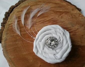 Feathery Rosette Hair Clip// Wedding Hair Accessory// Fabric Hair Flower