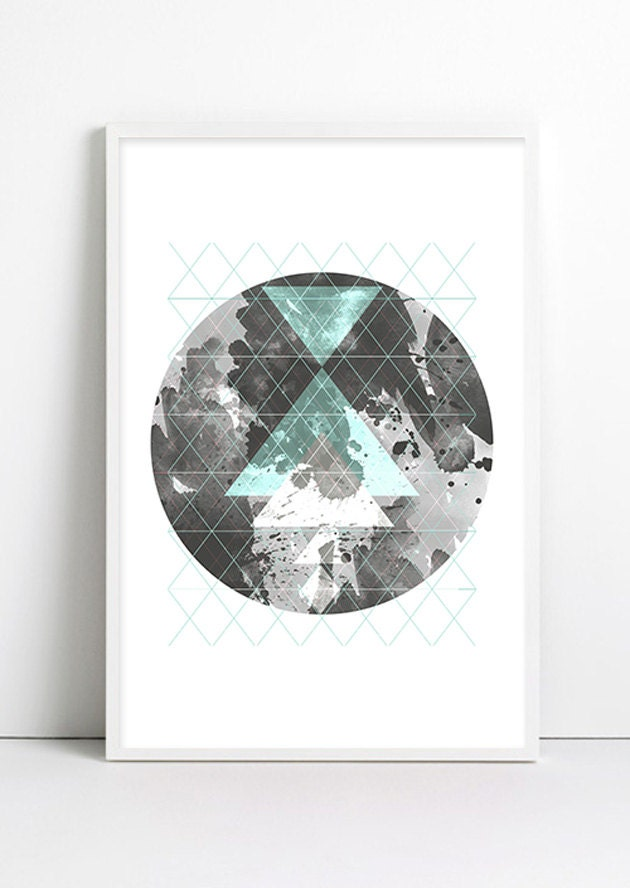 Moon art galaxy geometric decor geometric art print abstract for Minimalist art decor