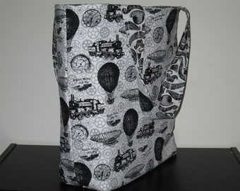 Steampunk/Mustache Large reversible Tote Bag