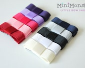 PICK ANY 6 COLORS Tiny Tuxedo Bow Hair Clips / Girls / Baby / Toddler / Ribbon / Grosgrain / Modern / Simple / Basic / Minimalistic