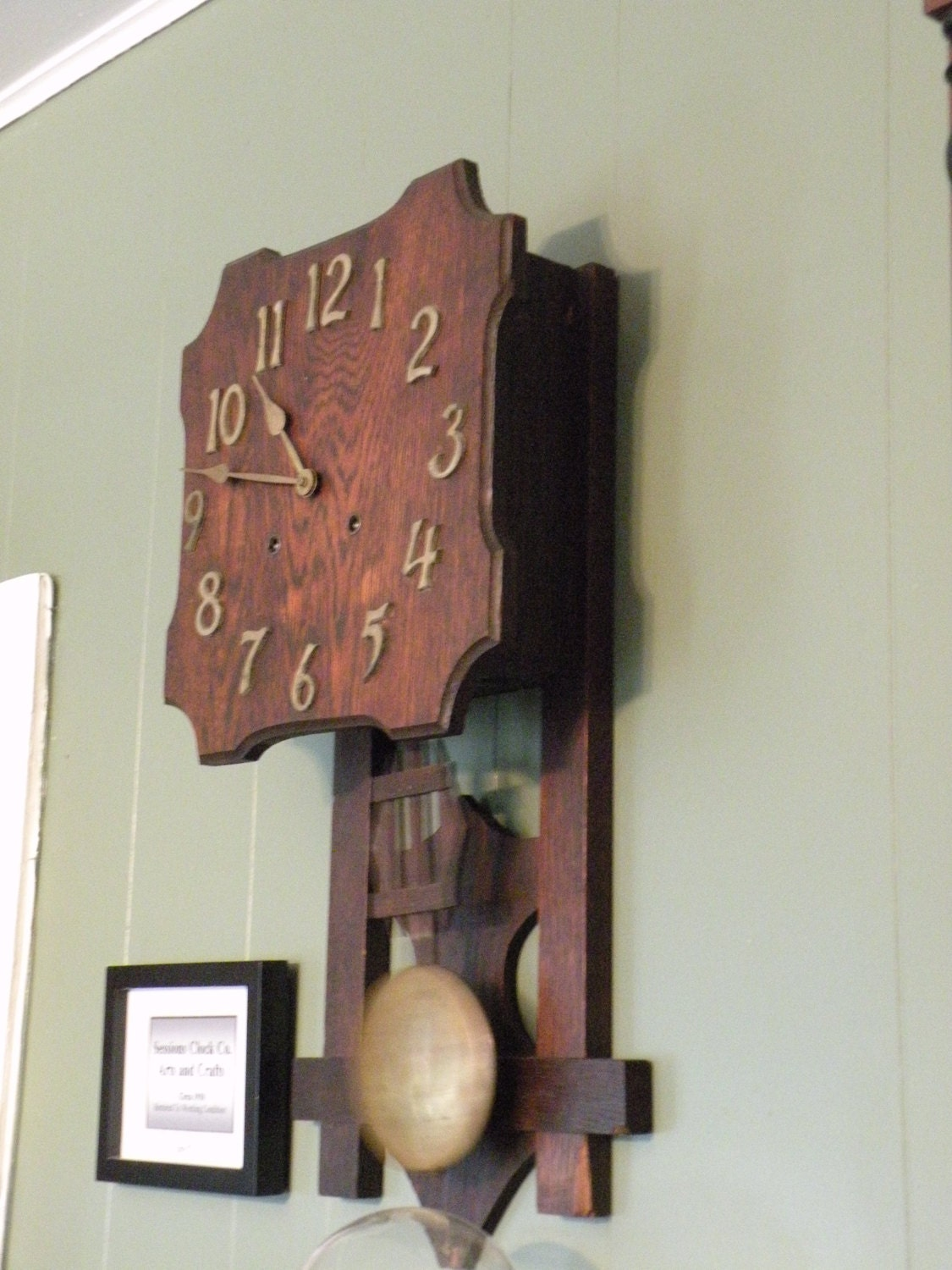 1906 arts and crafts mission wall clock with sessions clock for Arts and crafts style wall clock