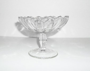 Fluted Clear Glass Pedestal Bowl