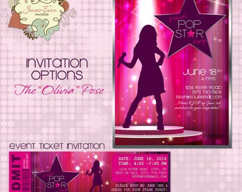 Pop Star Party Invitation /  DIY Printable Party Invitation / Event Ticket / Thank You Card / Singing Rock Star Karaoke