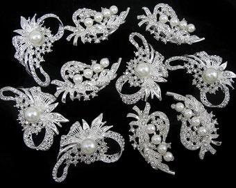Lot 10x Clear Crystal Rhinestone Pearl Brooch Pin Wedding Bridal Bouquet Brooch Wedding Invitation Embellishment Bridesmaid Gift Favor