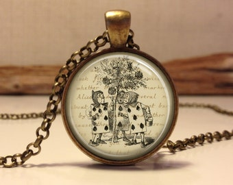 Alice in wonderland Jewelry. Alice Necklace .Alice in wonderland art pendant jewelry (alice #6)