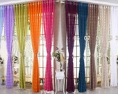 "Colorful Sheer Curtain Voile Panel Strip Pattern Sheer Curtains One Panel 55""W x 84""L. Made To Order. Custom Size Available. 11 Colors - 20CentsSupplies"