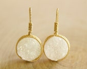 White Druzy Wrapped in Beaded Wire Drop Handcrafted by BareandMe on Etsy, Wrapped Druzy Earrings in Gold Handcrafted