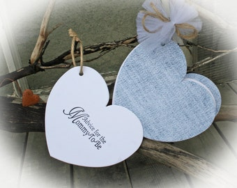 25 Baby Shower//WISHTags-Guest book alternative and wishing tree tags all in one-Advice for Mommy To Be  White tag/DenimCover