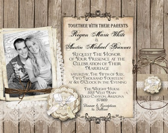 Rustic and Lace Wedding Invitation, Burlap, Mason Jar, Photo Invitation, Digital File, Printable, 5x7