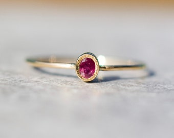 Ruby ring in 14k gold,   delicate jewelry,  stacking  ring,  july birthstone,natural ruby, Valentine's engagement ring