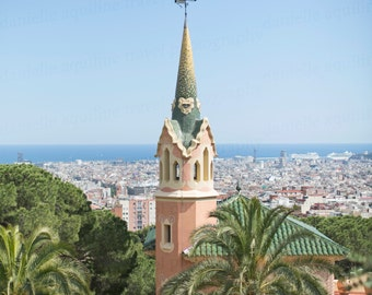 Barcelona Spain Photography, Park Guell House, Gaudi Architecture Photo, Antoni Gaudi Art, 8X10 Photography Print