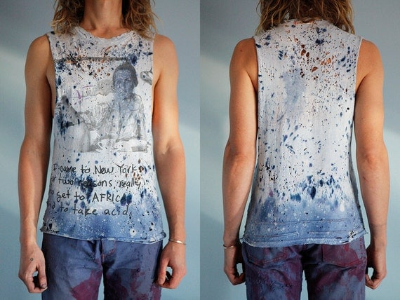 Take Acid, Blue Tiedye Cutoff Cotton Tshirt Size S. Destroyed with bullet holes, bleach and dye. Hand stitched details.
