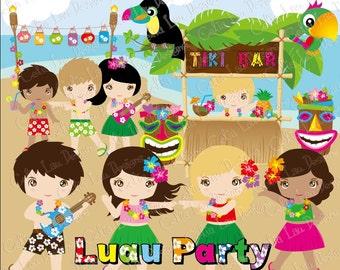 Aloha Clipart, Luau Clipart, Luau Party, Luau clip art, Hawaii Clipart, Hula ClipArt, Tiki Clipart, Cute Hula Girl and boy clip art(CG051)