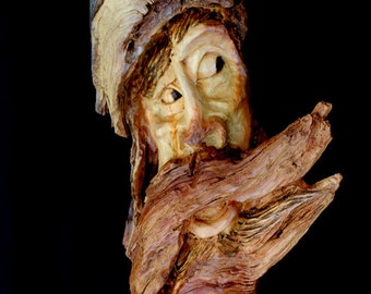 Spirit carving,  Pine knot, Hand carved, wood spirit carving, drift wood, one of a kind,  B. Madsen