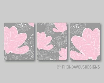 Baby Girl Nursery Art - Girl Nursery Decor - Girl Nursery Print - Flower Nursery Art - Flower Art - Flower Print - Pink Gray (NS-207)