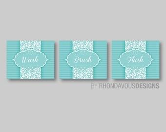 Bathroom Art Prints - Bathroom Rules Decor - Bathroom Rules Art - Bath Art - Wash Brush Flush - Flower Bath Art - Teal Blue White (NS-401)