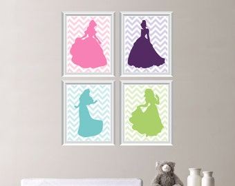 Baby Girl Nursery Print Art - Chevron Princess Nursery Decor - Kids Wall  Art - Princess Nursery Decor (NS-461)