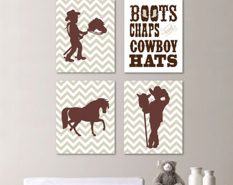 Baby Boy Nursery Print Art - Cowboy Nursery Decor - Kids Wall Art - Horse Nursery Decor - Chevron Nursery (NS-463)