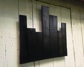 Pallet Wood City Skyline with Backlight for Saro