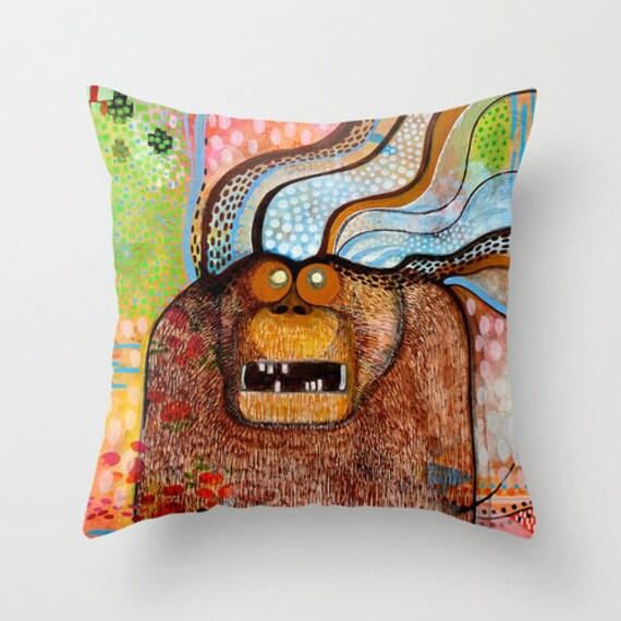 Monster Art Cute Monster Monster Pillow Throw Pillow