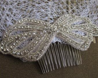 Vintage Birdcage Veil and Comb , Bridal Comb ,Crystal Veil