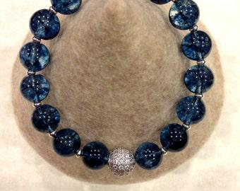Genuine Blue Topaz quartz stretch bracelet with  rhodium plated details