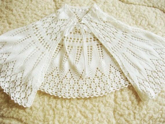 Merino Cape Knitting Pattern : Knit merino wool christening cape / Baptism/ Fine lace pattern