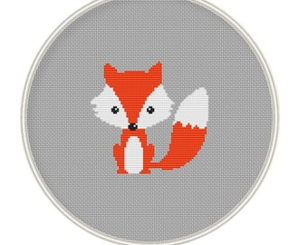 Cute red fox Counted cross stitch pattern, Instant Download, Free shipping, Cross-Stitch PDF, MCS059