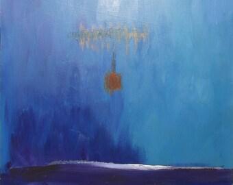 Suspended Sky ~ Ciel suspendu ~ Original Abstract Landscape Oil Painting 91.5 x 91.5 x 5 cm - 36 x 36 x 2 inches