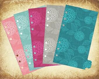 Set of 5 Dividers, flowered patterns