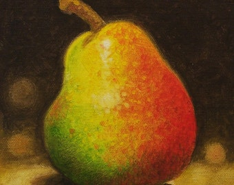 Pear Painting, Pear Art, Fruit Painting, Fruit Still Life, Original Pear Painting, Miniature Painting, Original Oil Painting