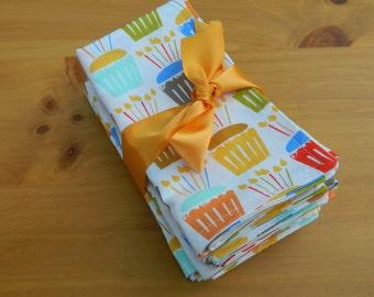 Birthday/Cupcake Napkins, Michael Miller print in 100% cotton,Set of six Cloth Napkins, Dessert Napkins, Celebration/Birthday Party