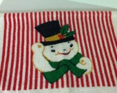 Vintage Christmas Kitchen Towel 1960s Snowman and Santa Hand Towel Terrycloth