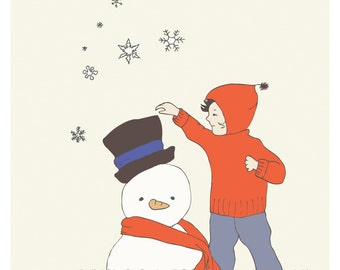 Children's Wall Art Print- Baby Nursery Art- Illustration  - Snowman