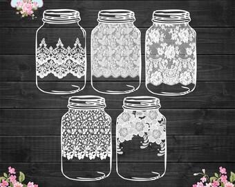 LACE Mason Jars Digital Clip Art - Vintage lace pattern jars transparent background for scrapbooking, invitations, bridal shower