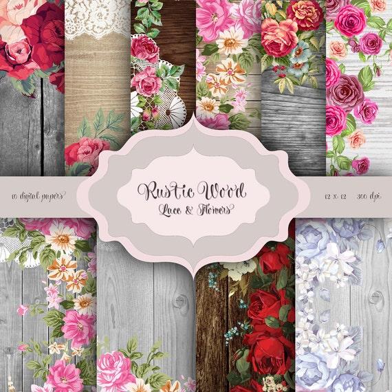 Rustikales Holz Blumen & LACE Digital Paper Pack Holz
