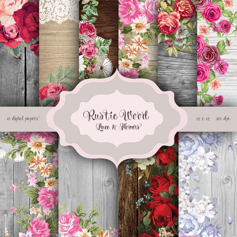 Rustic Wood Flowers & LACE Digital Paper Pack wood flowers