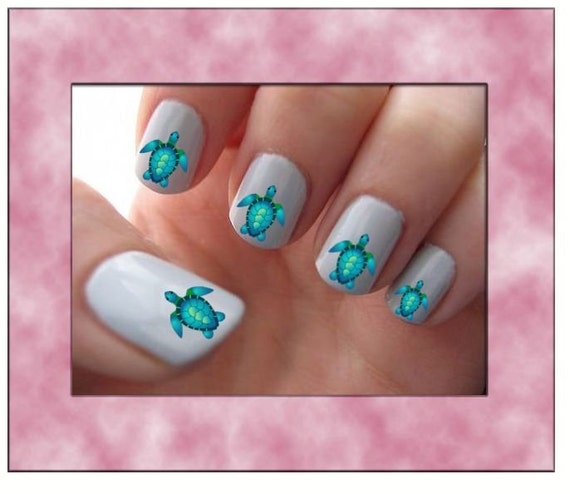Sea Turtle Nail Art: Blue Sea Turtle Nail Art Water Slide Transfers Ocean Nail