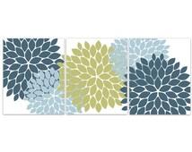Home Decor Wall Art, Teal Green Blue Flower Burst Art, Bathroom Wall Decor, Green and Teal Bedroom Decor, Nursery Wall Art - HOME85