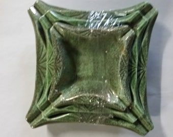 Set of 3 Green Vintage Ashtrays