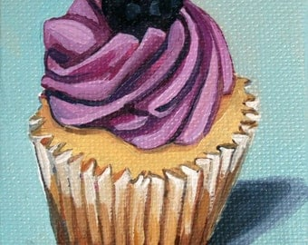 oil painting blueberry muffin cupcake