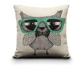 decorative pillow, owl pillow, owl, wedding, christmas, birthday, decorative pillows, geek, nerd, bow tie, throw pillows, home design