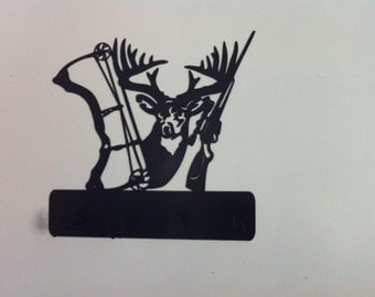 Deer Coat Rack With Bow/Rifle  Deer Cut-Out Metal Deer Coat/Bow Rack