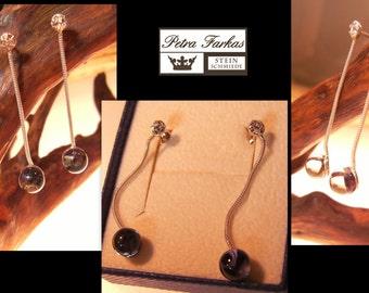 Vintage - Ohrhänger mit künstlichen Steinen, aufgearbeitet, Sterling Silber