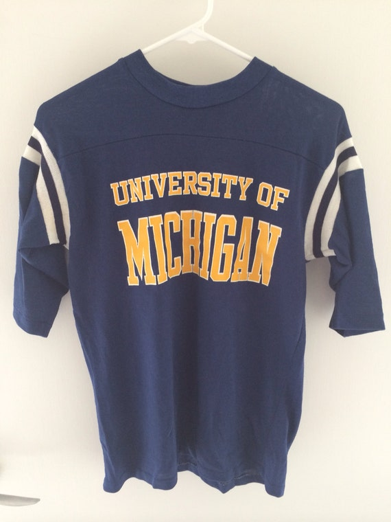 Vintage 80s University Of Michigan 3 4 Sleeve T Shirt