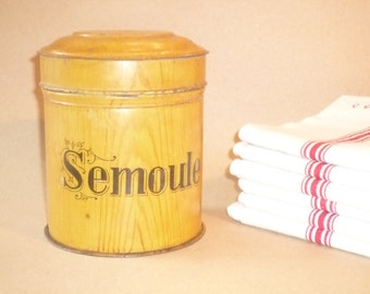 "Vintage French Faux Bois Kitchen Tin / Painted in false wood / Kitchen canister ""Semoule"" = semolina"